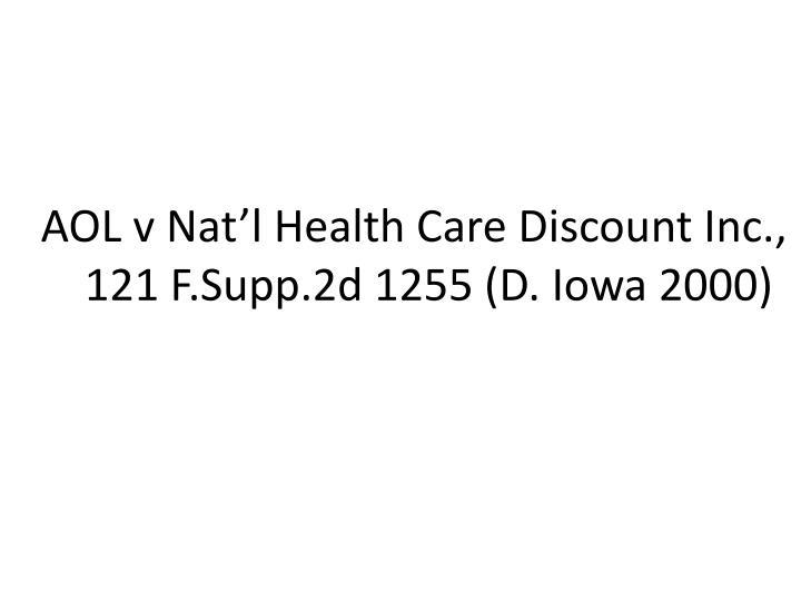 AOL v Nat'l Health Care Discount Inc.,