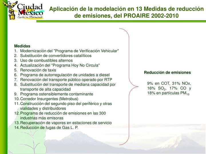 Aplicación de la modelación en 13 Medidas de reducción de emisiones, del PROAIRE 2002-2010