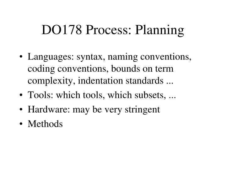 DO178 Process: Planning