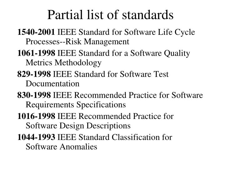 Partial list of standards