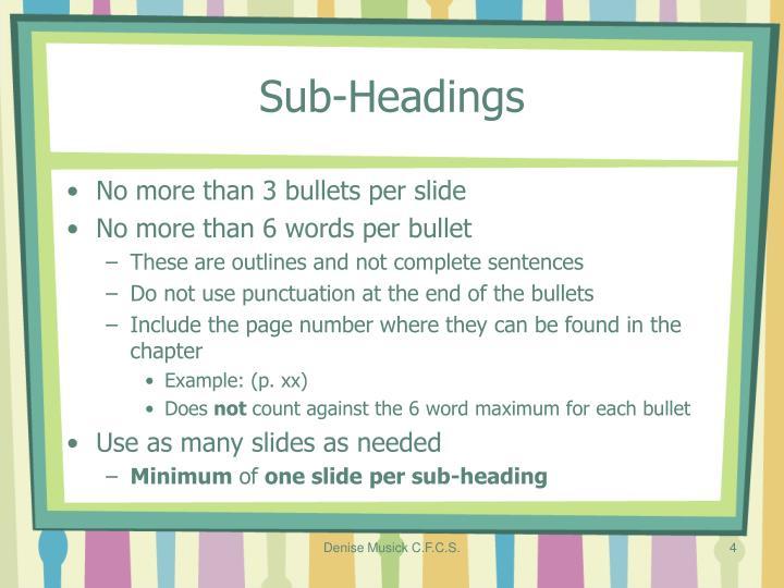 Sub-Headings
