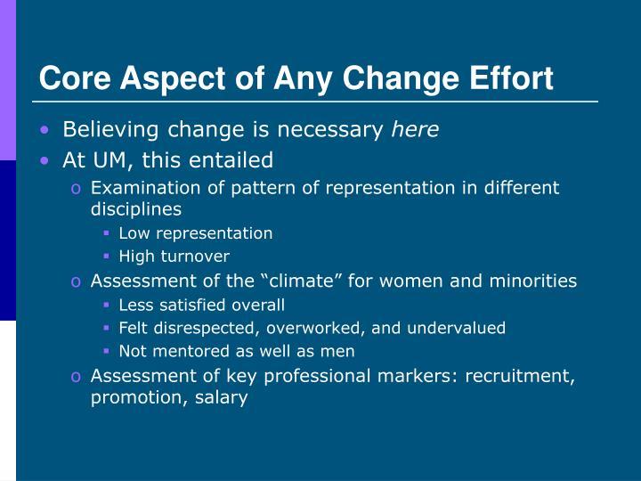 Core Aspect of Any Change Effort