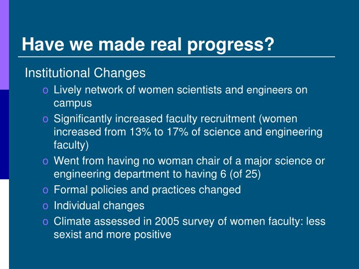 Have we made real progress?