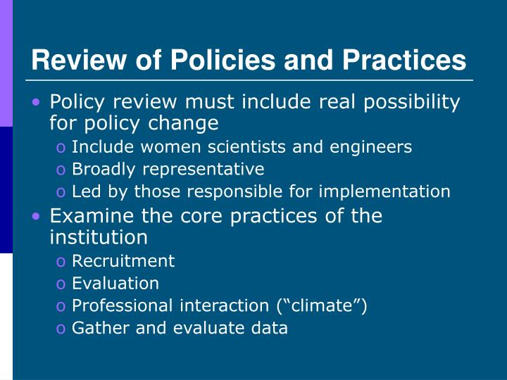 Review of Policies and Practices