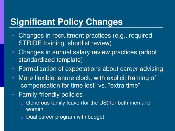 Significant Policy Changes