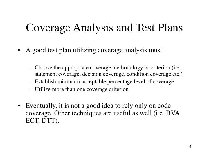 Coverage Analysis and Test Plans