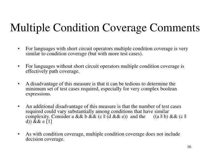 Multiple Condition Coverage Comments