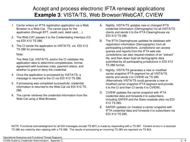 1.   Carrier enters an IFTA registration application via a Web Browser to a Web Cat.  The carrier pays for the application (through EFT, credit card, debit card,…).