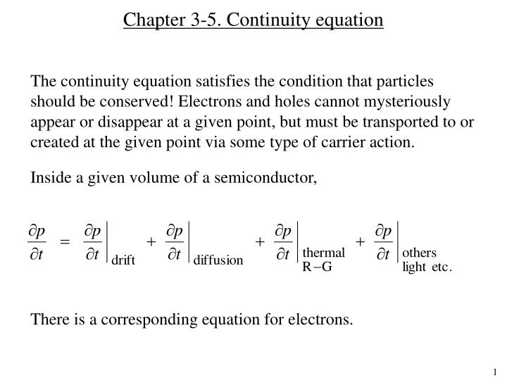 Chapter 3-5. Continuity equation