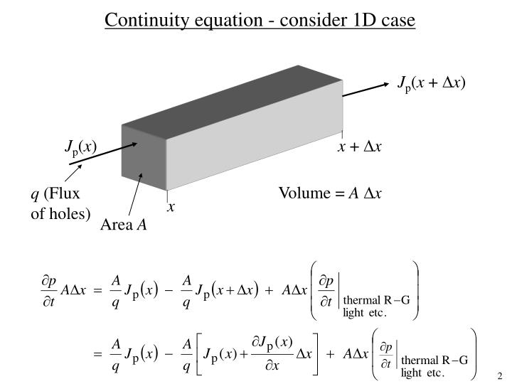 Continuity equation - consider 1D case