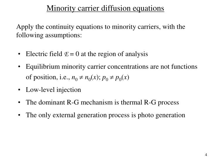 Minority carrier diffusion equations