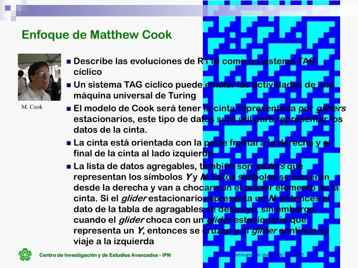Enfoque de Matthew Cook