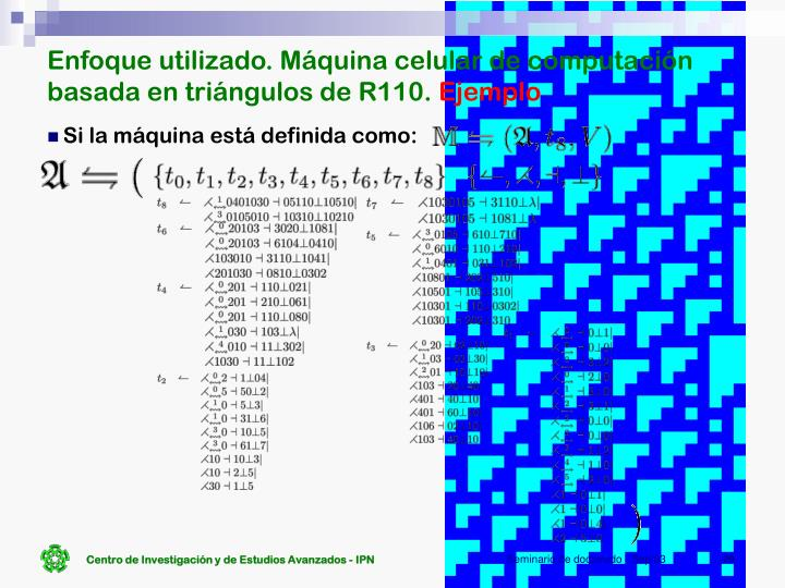 Enfoque utilizado. Máquina celular de computación basada en triángulos de R110.