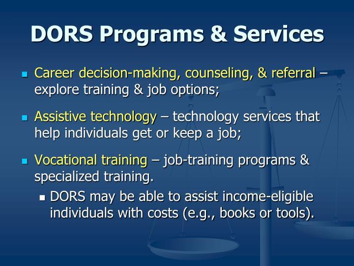 DORS Programs & Services