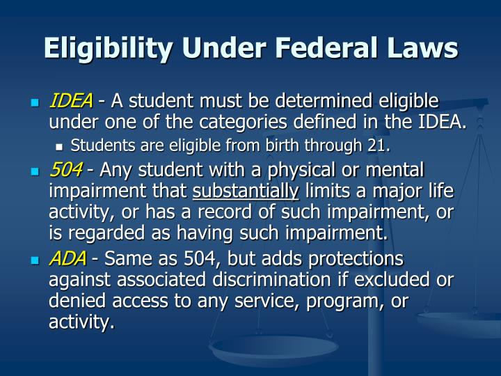 Eligibility Under Federal Laws