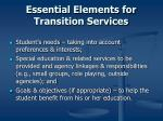 essential elements for transition services