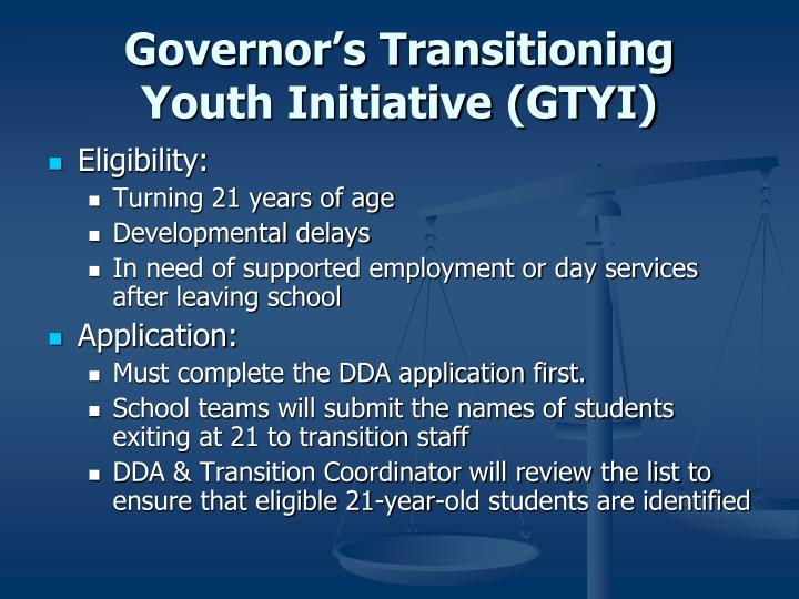 Governor's Transitioning