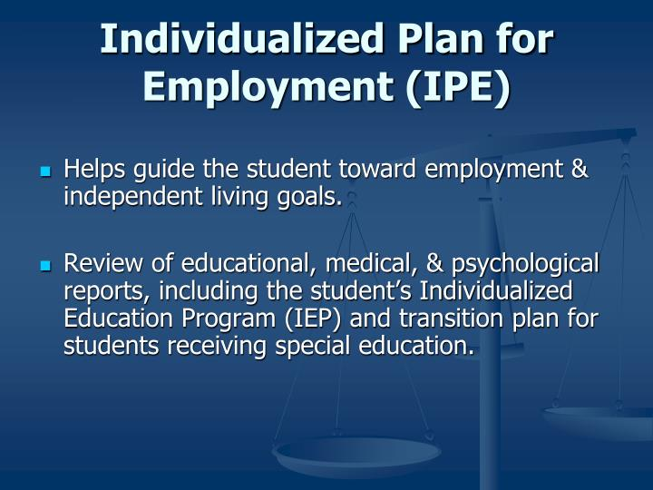 Individualized Plan for Employment (IPE)
