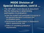 msde division of special education cont d