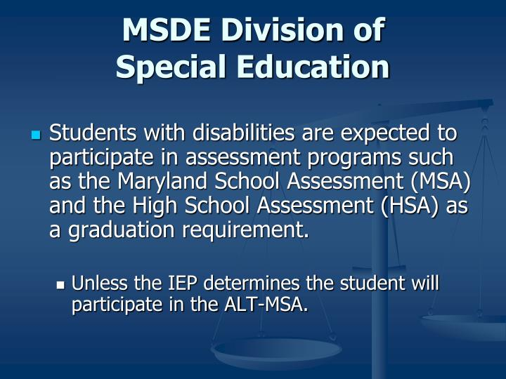 MSDE Division of