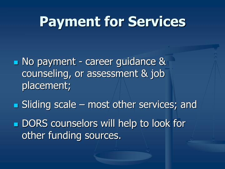 Payment for Services
