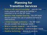 planning for transition services