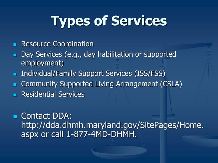 Types of Services