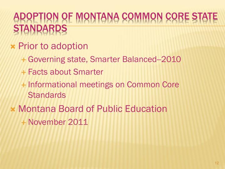 Adoption of Montana Common Core State Standards