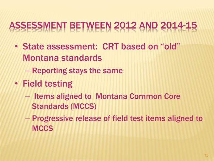 Assessment Between 2012 and 2014-15