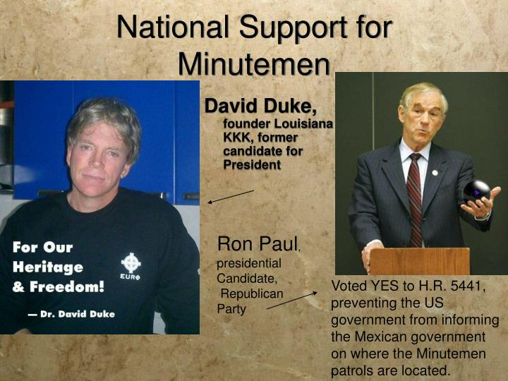 National Support for Minutemen