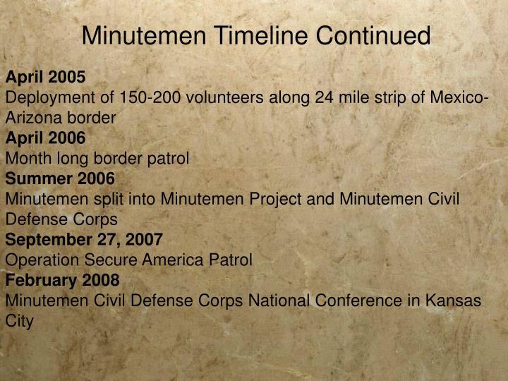 Minutemen Timeline Continued