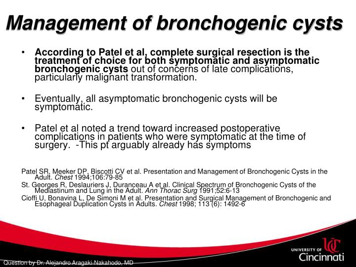 Management of bronchogenic cysts