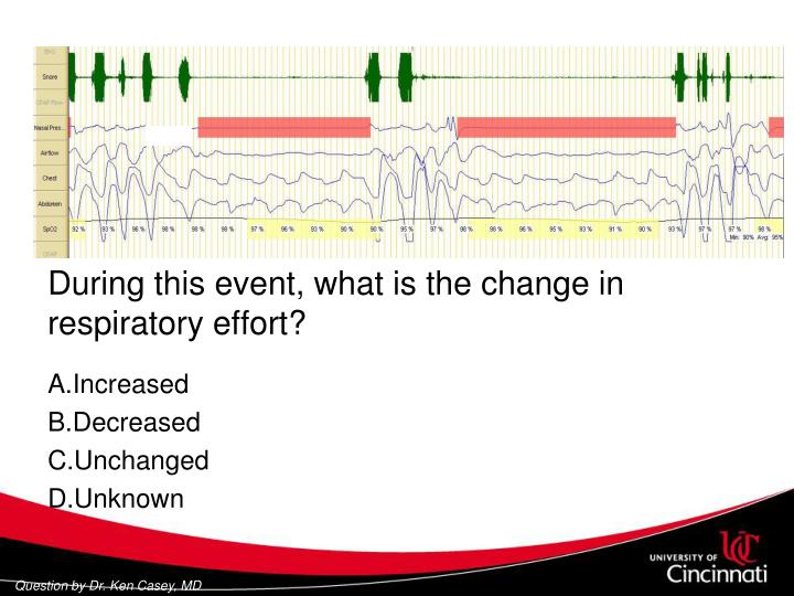 During this event, what is the change in respiratory effort?