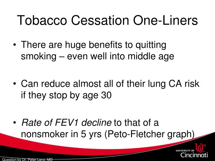 Tobacco Cessation One-Liners
