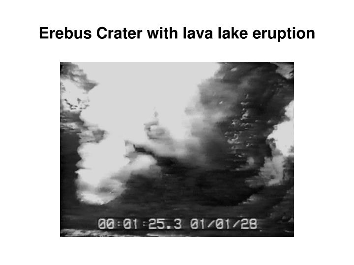 Erebus Crater with lava lake eruption