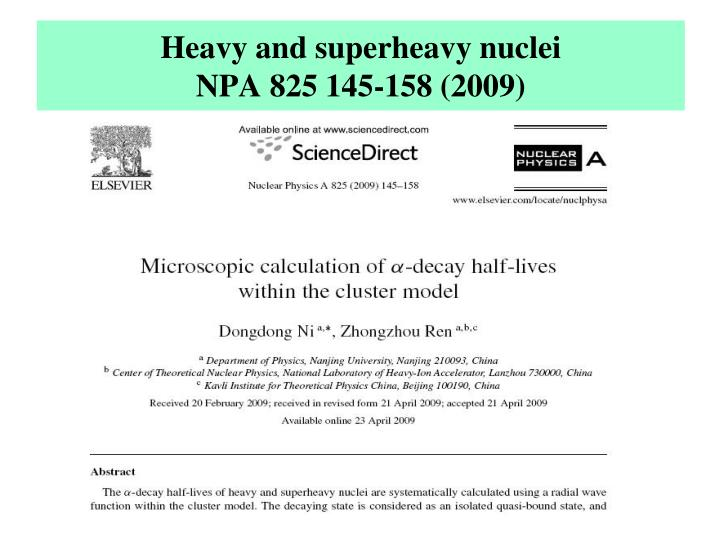 Heavy and superheavy nuclei