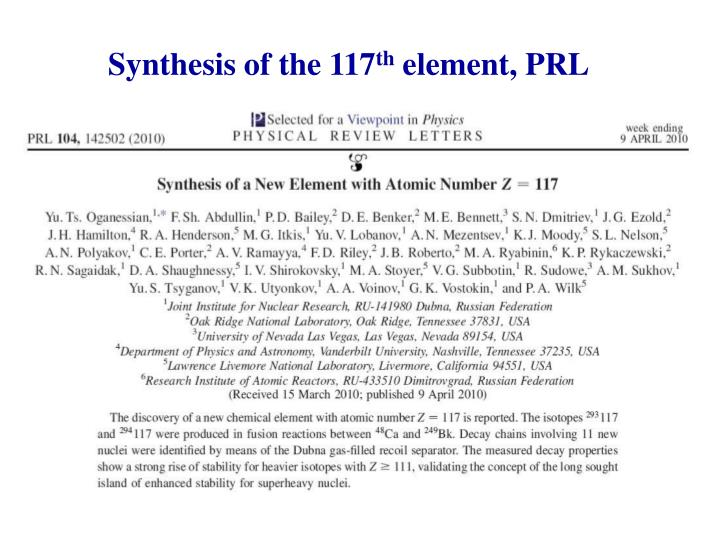 Synthesis of the 117