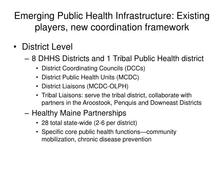 Emerging public health infrastructure existing players new coordination framework