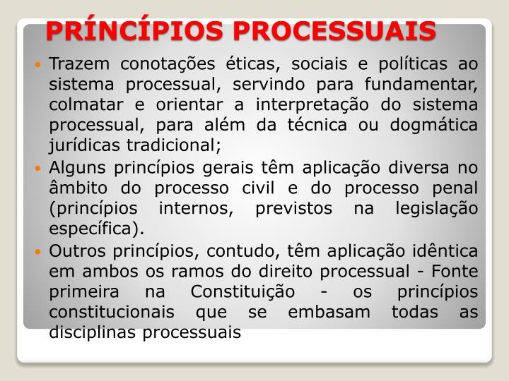Trazem conotações éticas, sociais e políticas ao sistema processual, servindo para fundamentar,