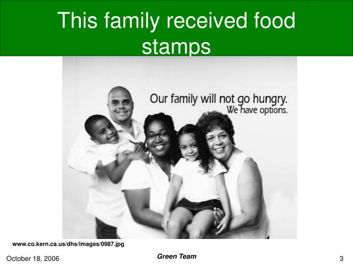 This family received food stamps