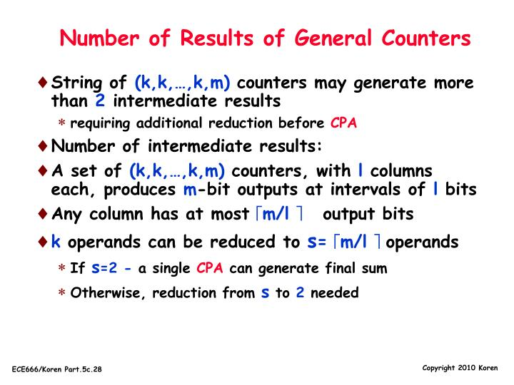 Number of Results of General Counters