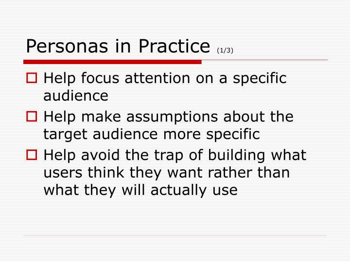 Personas in Practice