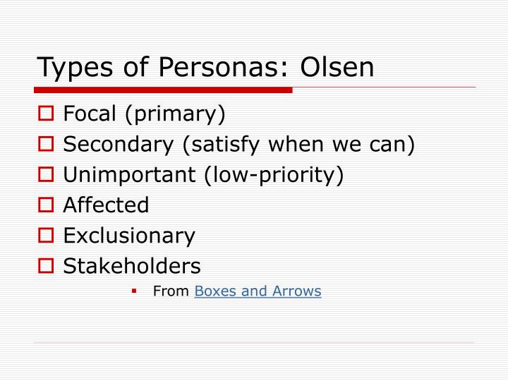 Types of Personas: Olsen