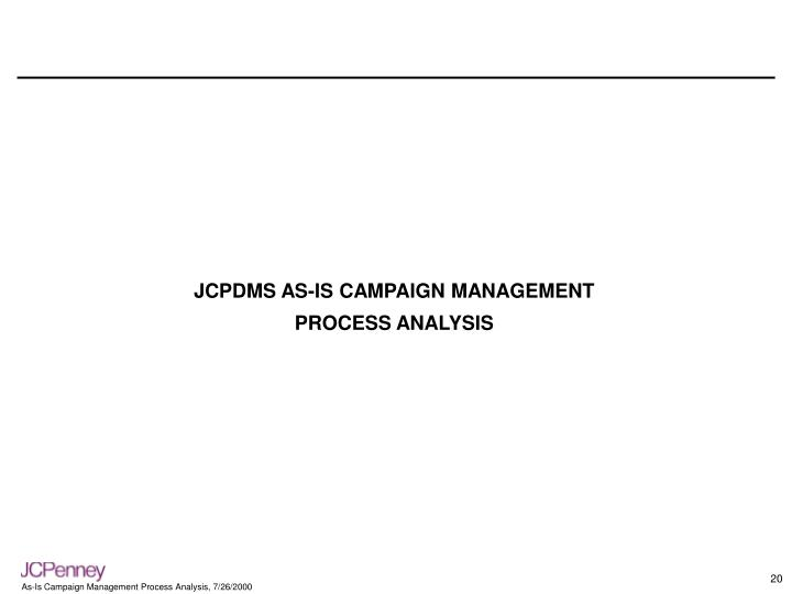 JCPDMS AS-IS CAMPAIGN MANAGEMENT
