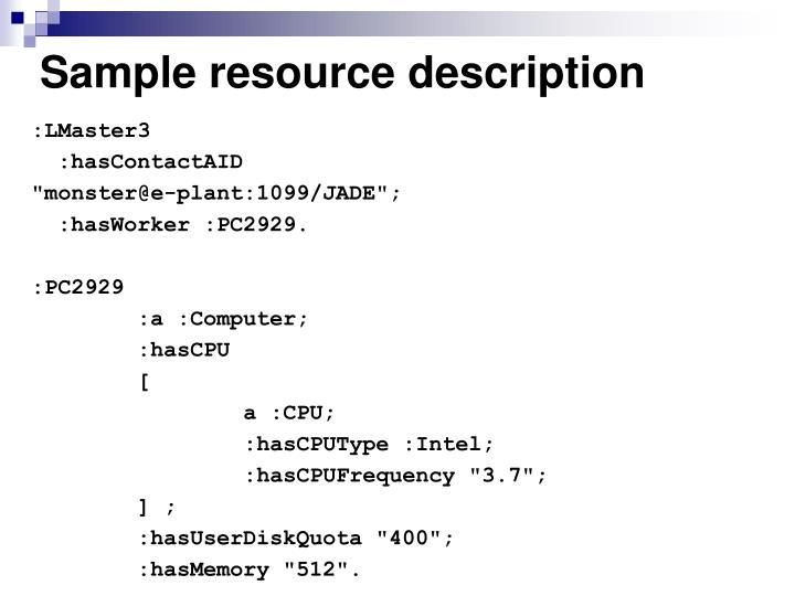 Sample resource description