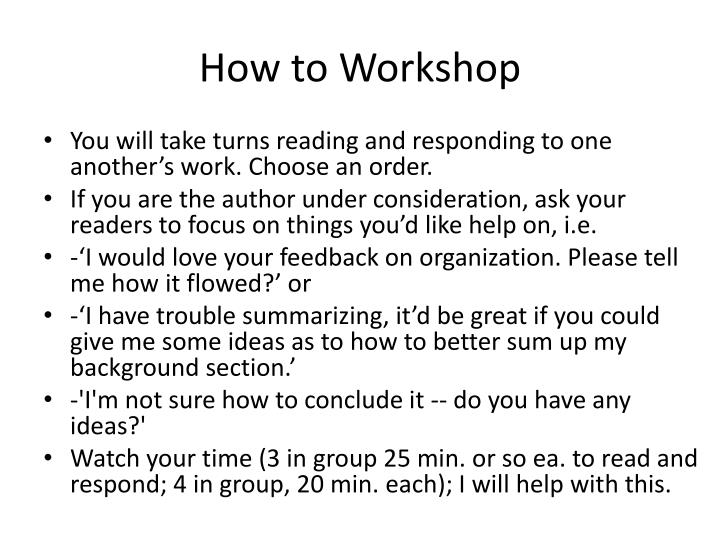 How to Workshop