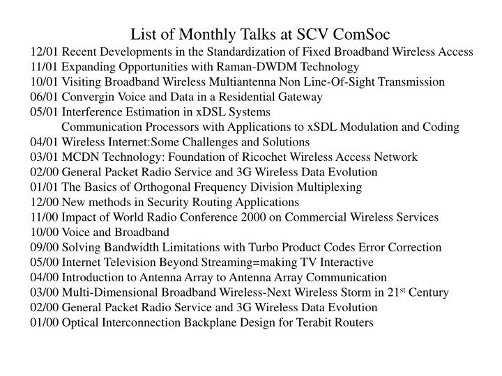 List of Monthly Talks at SCV ComSoc