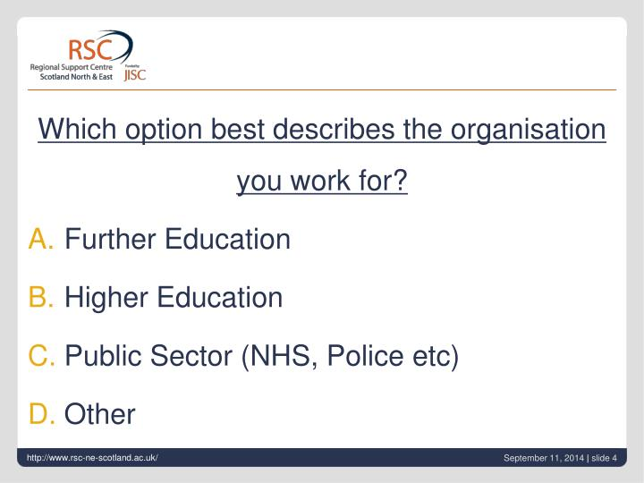 Which option best describes the organisation you work for?