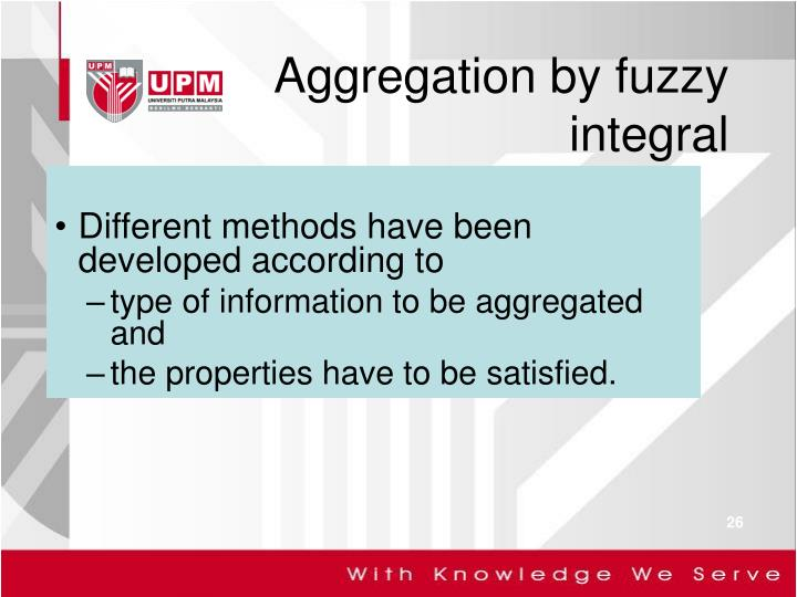 Aggregation by fuzzy integral