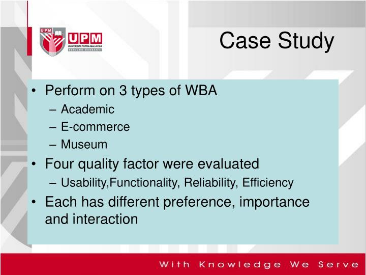 Perform on 3 types of WBA